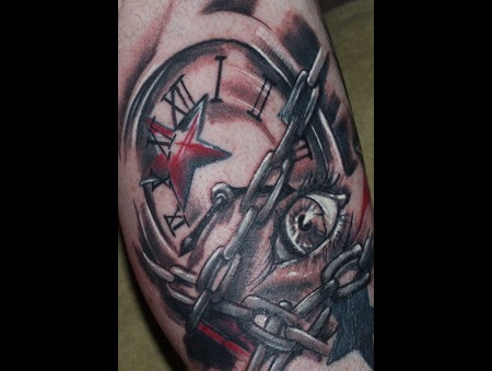 Clock  Chains  Eye  Stars  Black  Grey  Red  White  Time   Lower Leg