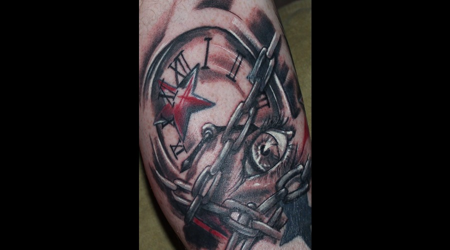 Clock  Chains  Eye  Stars  Black  Grey  Red  White  Time   Lower Leg