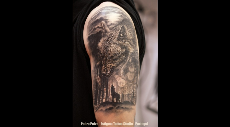 Wolf Tattoo Forest Moon Arm