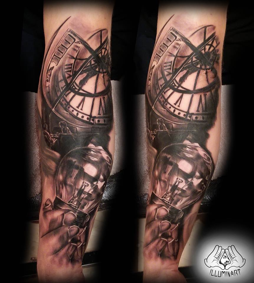 Bruno illuminart certified artist for Time is money tattoo