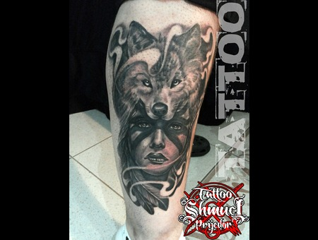 Indian Woman  Wolf  Black & Gray Lower Leg