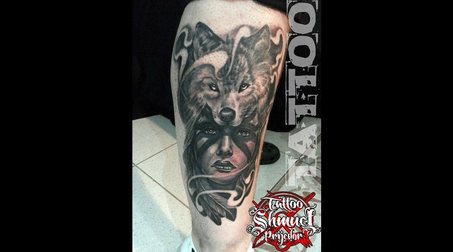 Indian Woman  Wolf  Black & Gray Lower Leg