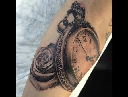 Time Clock Rose Forearm