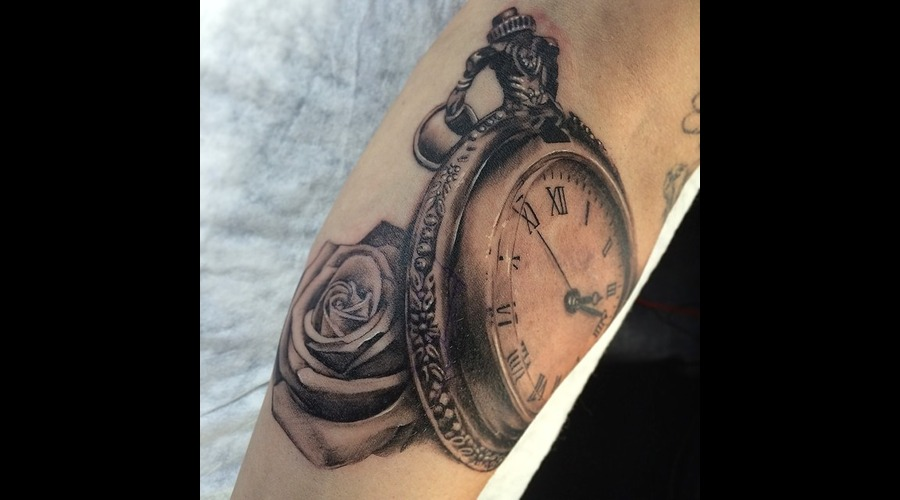 Time Clock Rose Forearm