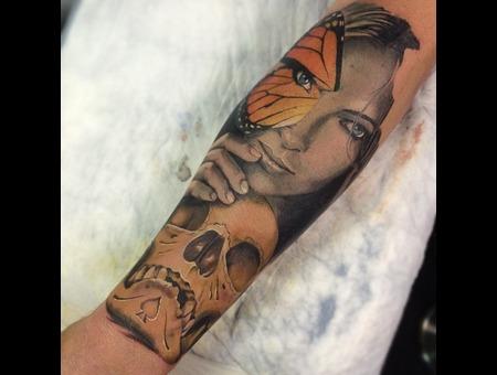 Lady Skull Butterfly Forearm