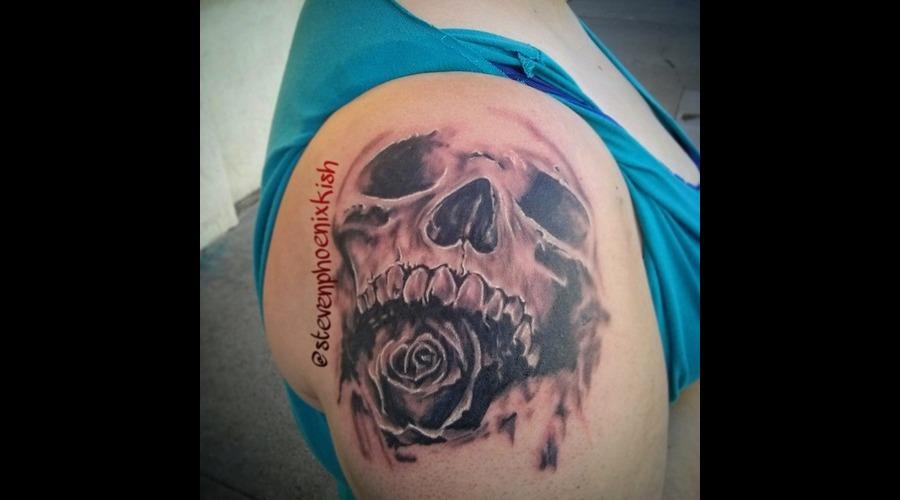 Skull  Roses Arm