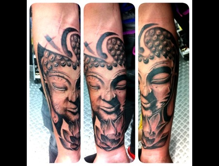 Buddha   Relistic Buddha   Tattoo Design Lower Leg