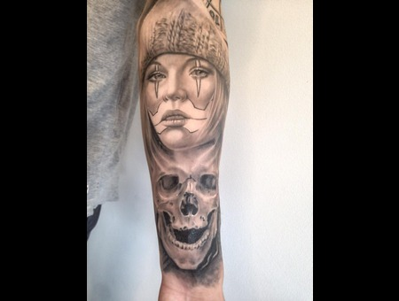 Chicano Chick   Skull   Clowngirl  Arm