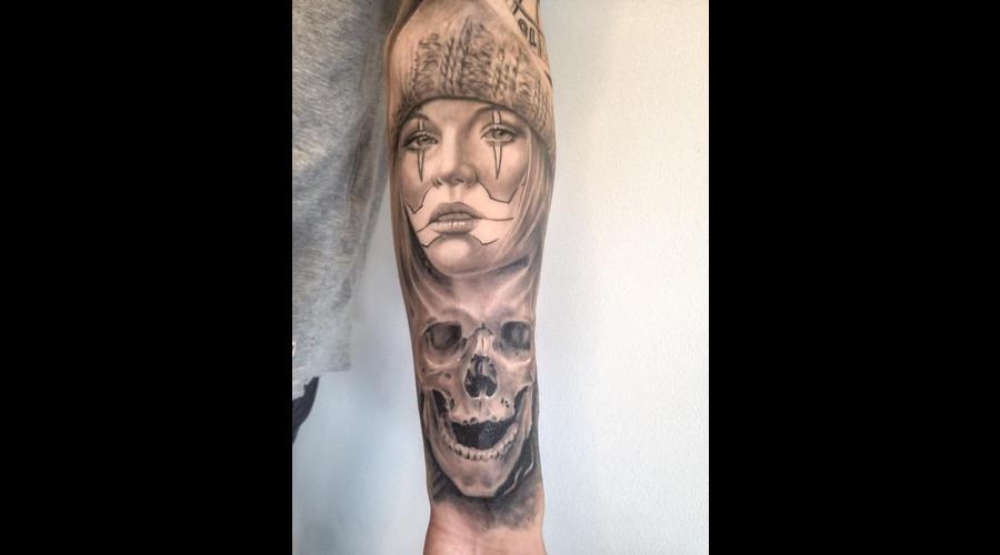 Chicano Chick   Skull   Clowngirl  Arm