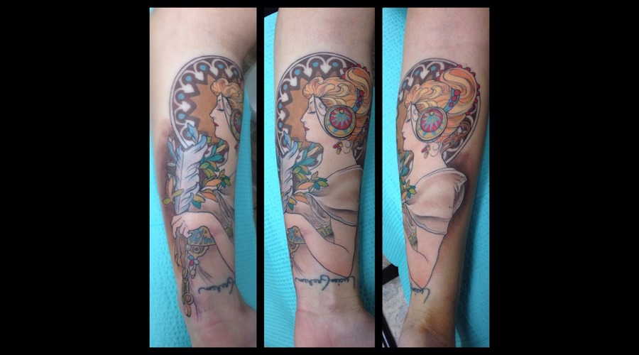 Alphose Mucha  Painting  Tattoo  Color  Girl Forearm