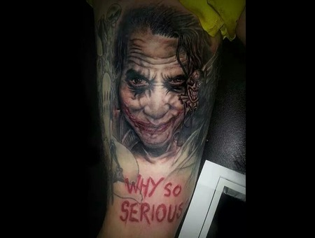 Black&Grey.Joker.Preto.Branco.Tattoo.Leg.Realistic.Portrait.Hiperrealistic Thigh