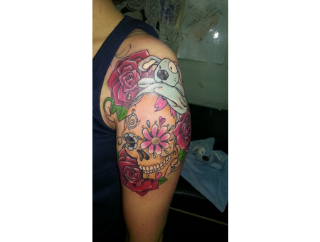 Color.Cartoon.Skull.Rose.Colors.Meaning. Arm