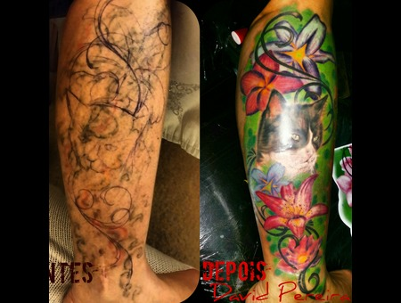 Colors.Cover.Coverup.Tattoo.Leg.Realistic.Portrait.Cat Lower Leg