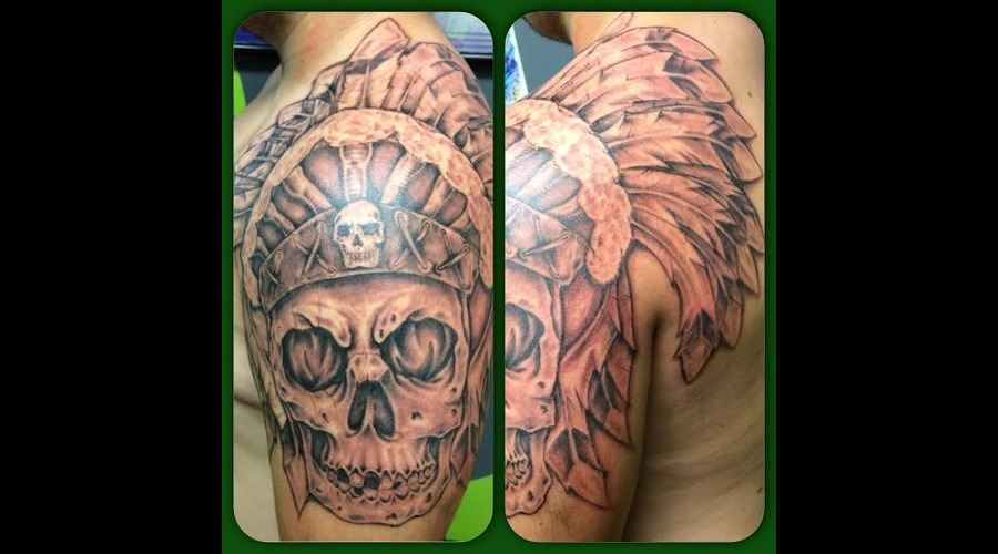Freehand  Native American  Skull Arm