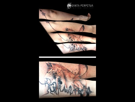 Santa Perpetua Watercolor Fox Brighton London Uk Forearm