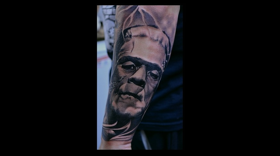 Frankenstein  Halloween  Black And Grey Portrait  Sleeve  Horror Movie Arm