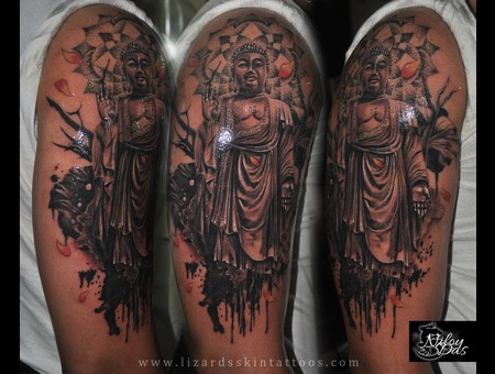 Buddha Tattoo With Mandala Dotwork Arm