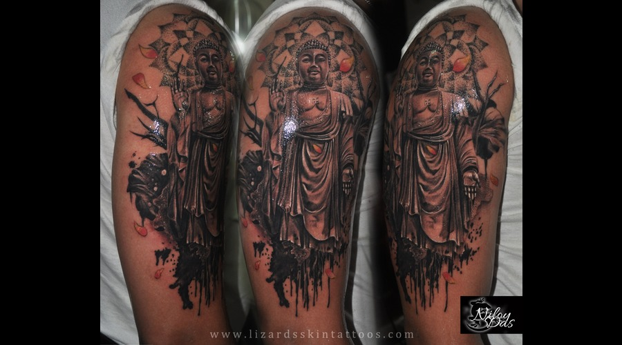 Buddha Tattoo With Mandala Dotwork Arm