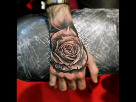 Hand Rose Cezanne Tattoo Realistic Forearm