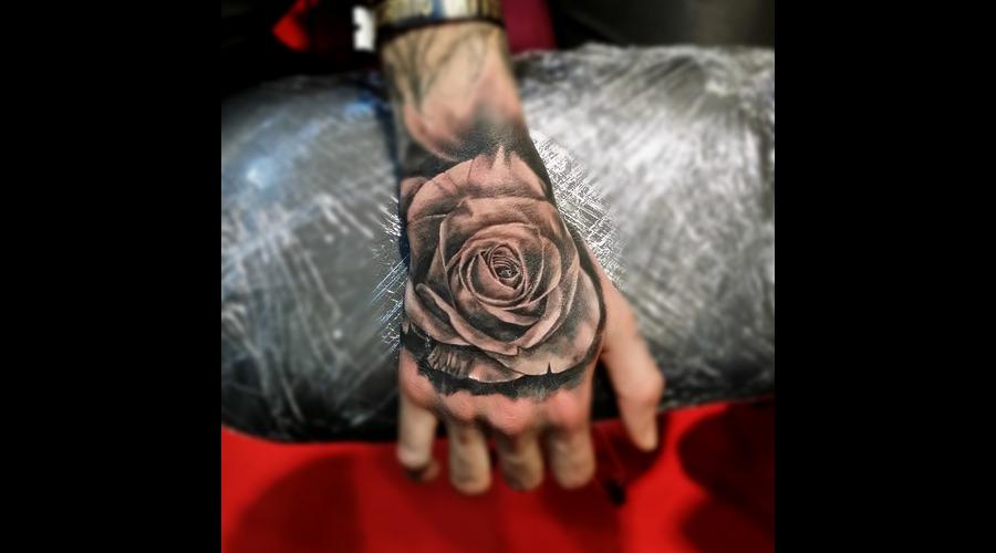 Hand Rose Cezanne Tattoo Realistic Forearm