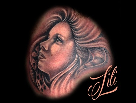 Portrait Woman Blackandgrey Realism Neck Tattoo Ink Neck