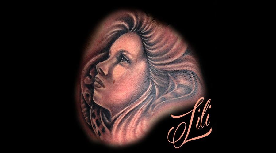 Portrait Woman Blackandgrey Realism Neck Tattoo Ink Neck