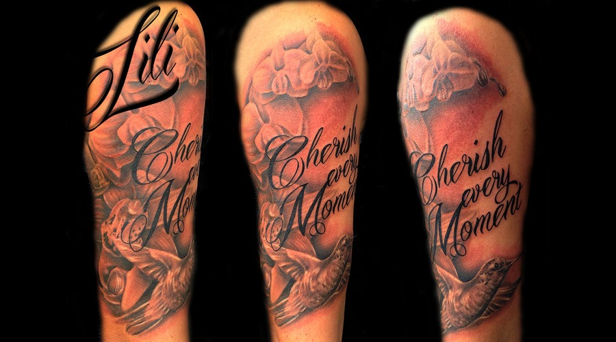 Realism Flower Flowers Orchid Black And Grey  Script  Lettering  Sleeve Arm
