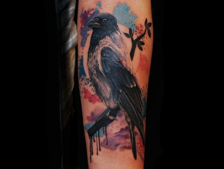 Crow Watercolor Splashes Realism Bird Paint  Forearm