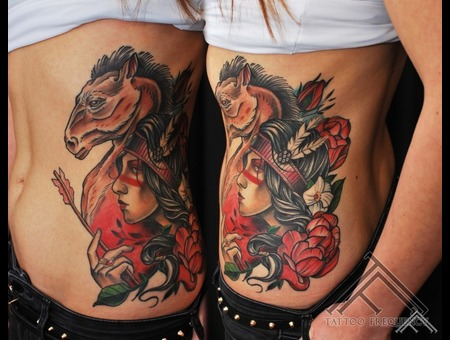 Indian Horse Girl Flowers Arrow Ribs