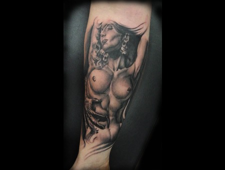Naked Girl  Fit Girl  Boris  Pin Up  Pretty Girl  Realistic  Photo Realism Forearm