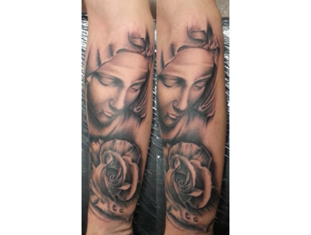 Mother Mary  Mary  Rose  Religious  Realism. Portrait   Forearm