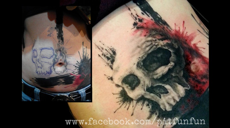 Freehand Skull Coverup By Pit Fun Fun