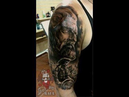 Zeus Spartan Raul Open Mind Tattoo Portrait Greek Tattoo Black&Gray Tattoo Arm