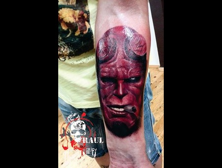 Hellboy Raul Tattoo Color Tattoo  Portrait Tattoo Forearm