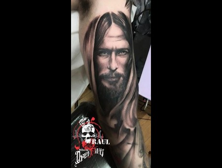 Jesus Tattoo Raul Portrai Tattoo Open Mind Tattoo Greece Black&Gray Tattoo Arm