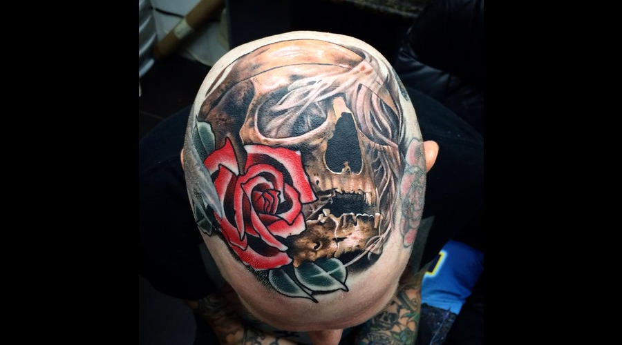 Colab With My Friend. Rose Done By My Friend  Skull Done By Me  Color Head Head