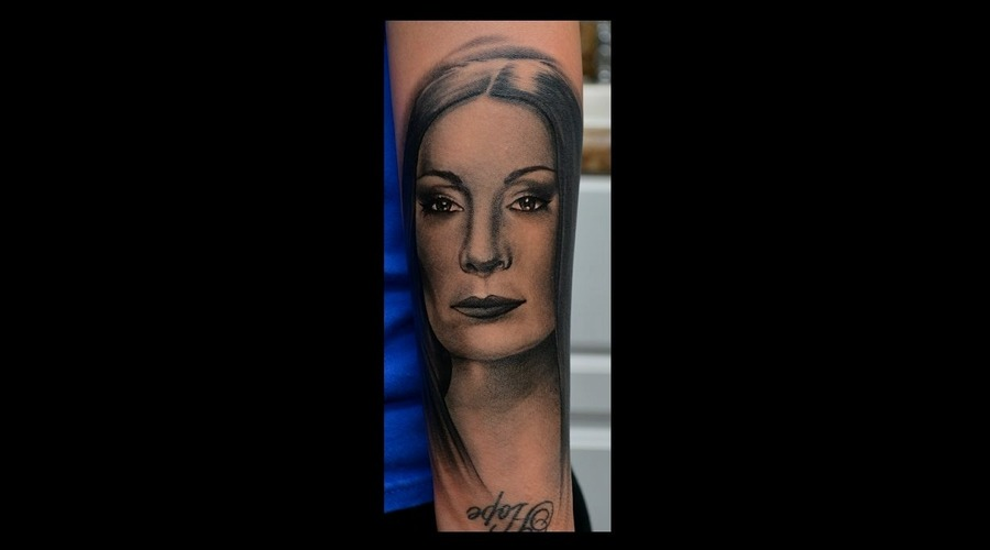 Morticia Addams  Black And Grey Portrait  Photo Realism  Realism Forearm