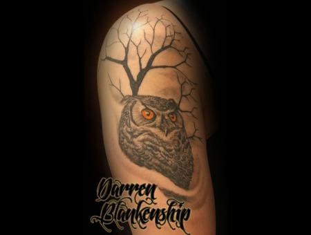 Owl  Tree  Black N Grey  Realism  Tattoo Arm