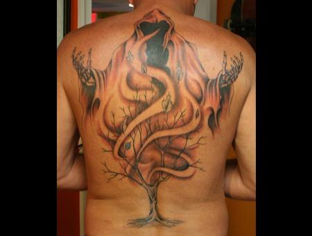 Backpiece  Death  Grimm Reaper  Tree  Black N Grey  Tattoo Back
