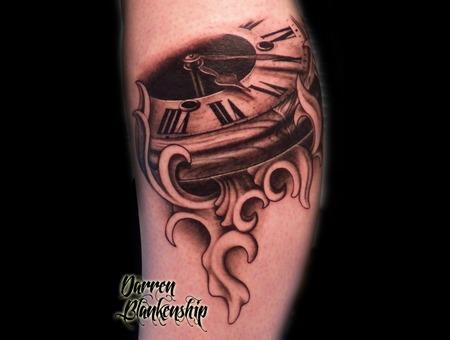 Clock  Clockwork  Mechanical  Realism  Black N Grey  Tattoo  Filigree Lower Leg