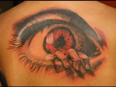 Eye  Hand  Creepy  Black N Grey  Realism  Tattoo Back
