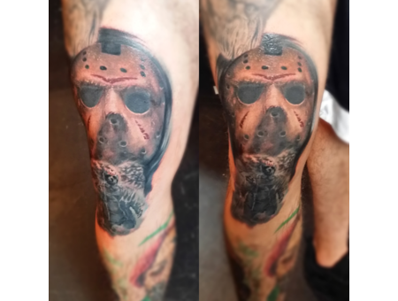 Portrait Horror Friday 13th Jason Hockey Mask  Realism Cult Classic Thigh