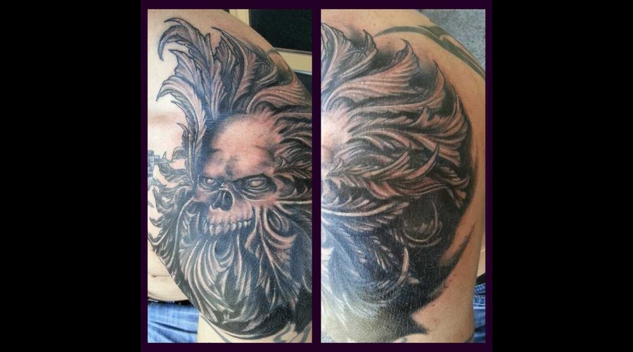 Cover Up  Green Man  Skull Shoulder