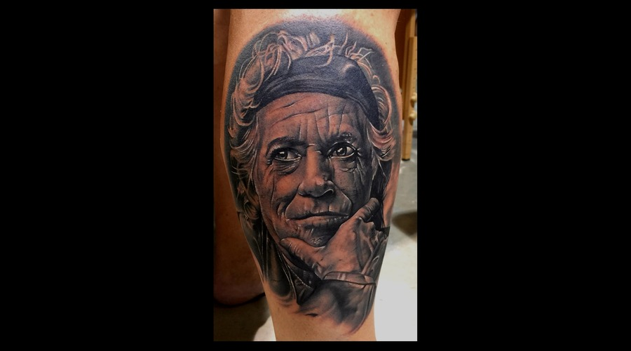 Keith Richards Portrait  Photorealism Realism Black And Grey Portrait   Lower Leg