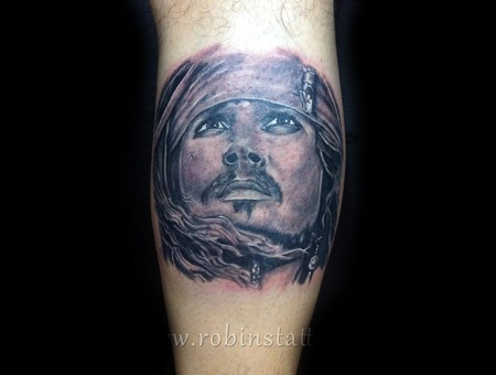 Johnnydepp Tattoooncalf Portraits Legtattoo  Lower Leg