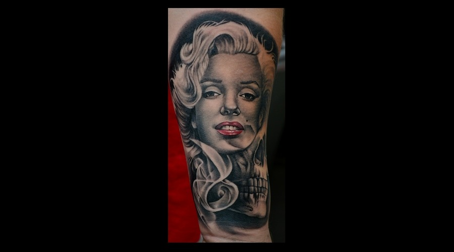 Marilyn Monroe Portrait Black And Grey Portrait  Photorealism Realism Forearm