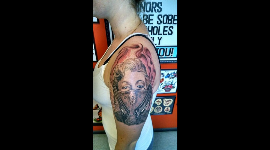 Marilyn Monroe Gangster Tattoo Black Grey Arm