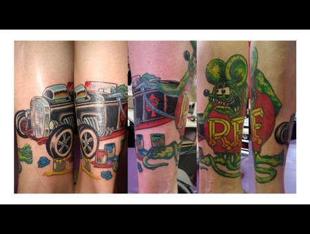 Ratfink Hotrod Paint Mouse Oldschool Lower Leg