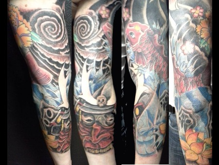Japanese Mask Koi Water Sleeve Lotus Windbar Arm