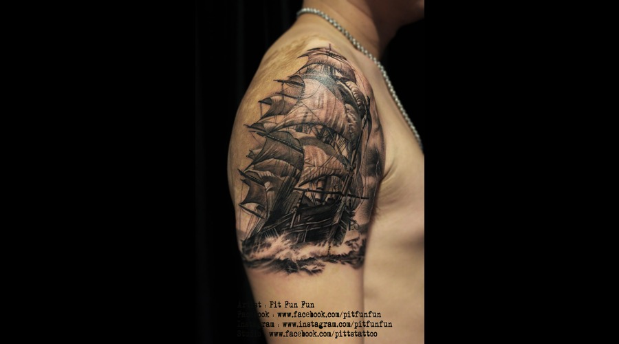 Sail Ship Tattoo  Black And Grey Arm